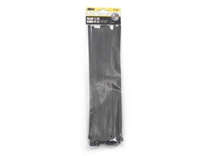 Stahovací pásky 7,6x300mm černé/25ks - rozepínací