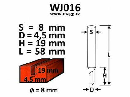 Fréza do dřeva D=5, H=19, L=50, S=8mm