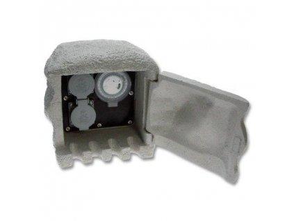 Kamenný sloupek 2x zásuvka, časový spínač ECOPLANET XSTA-222GT