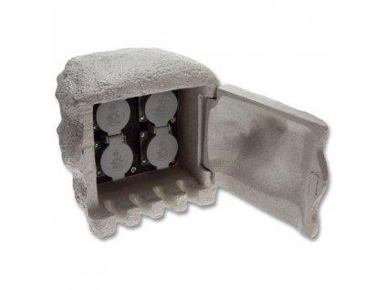 Kamenný sloupek 4x zásuvka ECOPLANET XSTA-224G