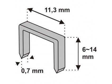 Nastřelovací spony do sponkovačky 10 mm 1000 ks tlouštka 0,7 vz. D53