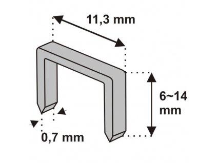 Nastřelovací spony do sponkovačky 14 mm 1000 ks tlouštka 0,7 vz.D53 DEDRA 11Z114
