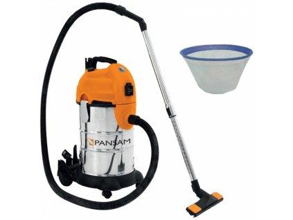 Průmyslový vysavač A063040 na suché i mokré vysávání 1600W / 30L PANSAM A063040  + Kombinace HEPA a bavlněného filtru pro jemný prach