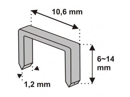 Nastřelovací spony do sponkovačky 14 mm 1000 ks tlouštka 1,2 vz .D11
