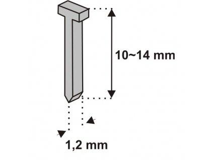 Nastřelovací hřebíky do sponkovačky 12 mm 1000 ks tlouštka 1,2 vz. D11T