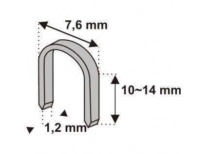 Nastřelovací spony do sponkovačky na kabely 14 mm 1000 ks tlouštka 1,2 vz. D11U