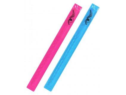 Pásek reflexní ROLLER 2ks růžový + modrý Compass 01708