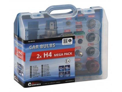 Žárovky 12V servisní box MEGA H4+H4+pojistky Compass 08519