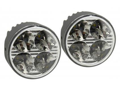 Světla denního svícení 4 HIGH POWER LED 12V/24V (kulatá 70 mm) Compass 33551