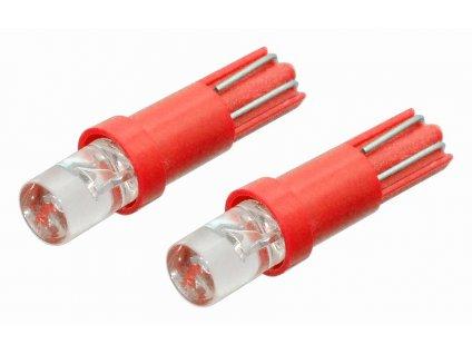 Žárovka 1LED 12V  T5  červená  2ks