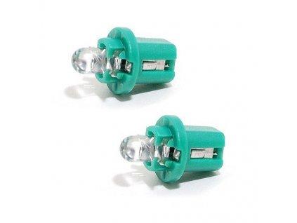 LED žárovka s nízkým odběrem proudu. Patice B8,5d, zelené světlo, balení á 2ks, příkon 0,2W.