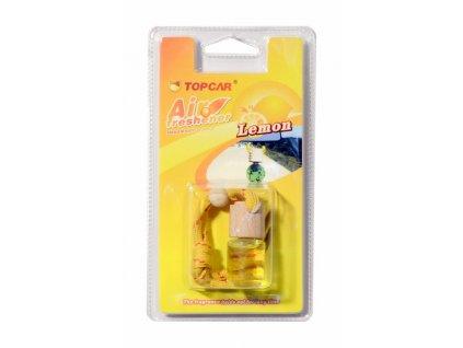 Elegantní osvěžovač vzduchu - skleněná lahvička s parfémem, s dřevěným víčkem a se šňůrkou pro jednoduché zavěšení.