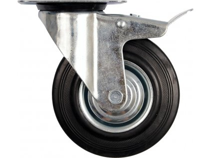 Kolečko otočné s brzdou, gumové 40kg 75/23/97mm Vorel TO-87321