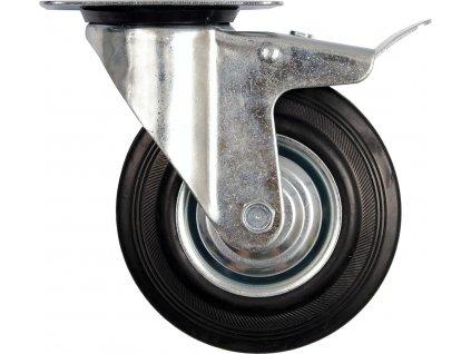 Kolečko otočné s brzdou, gumové 100kg 125/34/155mm Vorel TO-87323