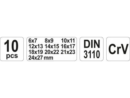 Sada klíčů plochých 10 ks 6 - 27 mm