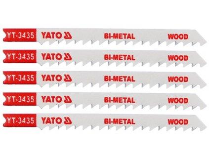 List pilový do přímočaré pily 100 mm na dřevo TPI6 5 ks Bi-Metal Yato YT-3435