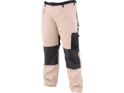 Pracovní kalhoty - montérky, s reflexními prvky, poutky na opasek a pevným pasem vzadu do gumy.