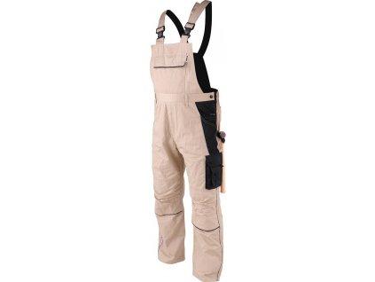 Pracovní kalhoty - montérky, s laclem a šlemi. Reflexní prvky, poutka na opasek a pevný pas vzadu do gumy.