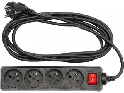 Kabel prodlužovací 3 m vypínač 4 zásuvky Vorel TO-72631