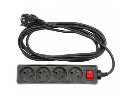 Kabel prodlužovací 5 m vypínač 4 zásuvky Vorel TO-72632