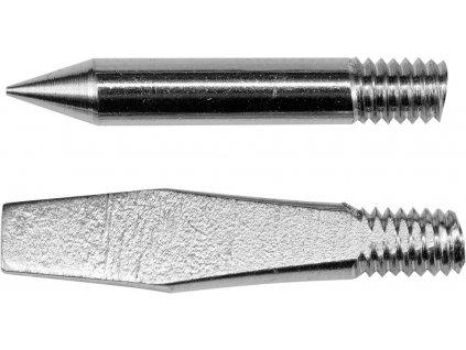 Sada náhradních hrotů dvou kusů pro pájecí stanici Lund 79373 obsahuje hrot špičatý kuželového tvaru a hrot plochý. Hroty jsou měděné s povrchovou úpravou pro dokonalé přilnutí pájecího cínu.<br><br>• Náhradní pájecí hroty 79374 pro pájecí stanici Lund 79373<br><br>• Hrot špičatý délka 25,5mm se špicí 1mm průměr těla 3,8mm<br>• Hrot plochý délka 25,5mm šíře 4,2mm tloušťka 1,5mm<br>