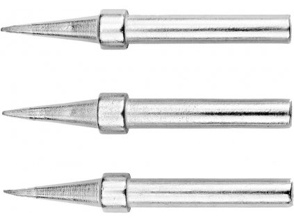 Sada tří různých pájecích hrotů pro pájku Sthor 79376, s obsahem:<br><br>• Náhradní hroty Sthor 0,4-1,2 pro pájku 79376<br><br>• Hrot špičatý se špicí 0,4mm<br>• Hrot špičatý se špicí 0,8mm<br>• Hrot špičatý se špicí 1,2mm<br>• Průměr těla 4,7mm<br>• Celková délka 56,5mm<br>