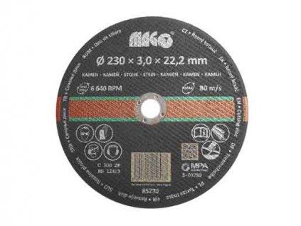 Řezný kotouč na kámen 230x3,0x22,2mm MAGG RS230