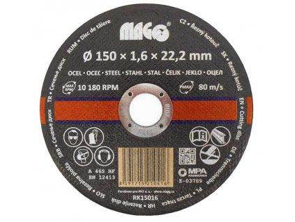 Řezný kotouč na kov 150x1,6x22,2mm MAGG RK15016