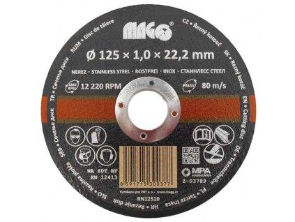 Řezný kotouč na nerez 125x1,0x22,2mm MAGG RN12510