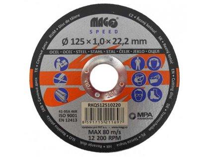 Řezný kotouč na kov 125x1,0x22mm MAGG SPEED RKQS12510220