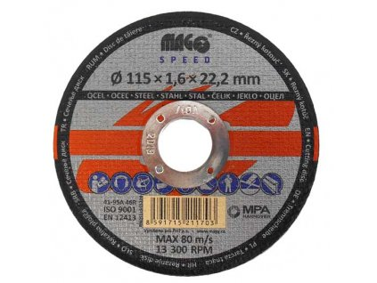 Řezný kotouč na kov 115x1,6x22mm MAGG SPEED RKQS11515220