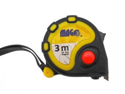 Svinovací metr 3 m x 16mm guma/plast, magnet MAGG LAND03