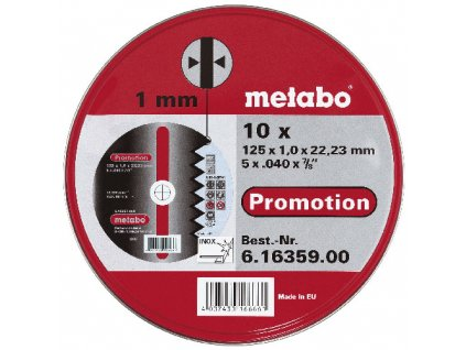 Sada 10ks kotoučů Promotion 125x1,0mm na nerez METABO 616359000