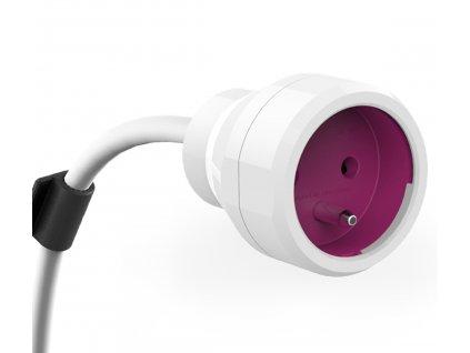 POWERCUBE  PowerExtension 3m bílá/ růžová