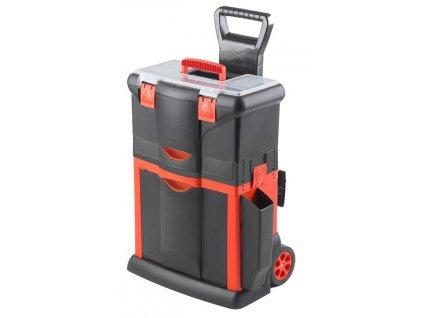 Plastový pojízdný kufr, tažná rukojeť 460x330x660mm s 1x