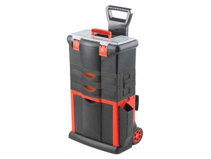 Plastový pojízdný kufr, tažná rukojeť 460x330x730mm s 2x