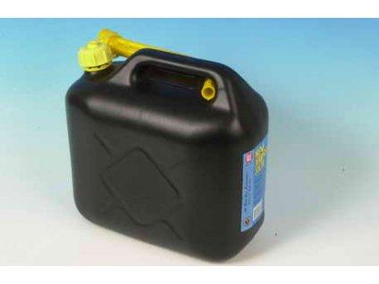 Kanystr na benzín, plastový s nálevkou 10l - černý