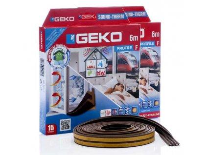 GEKO - Těsnění do oken hnědé samolepící molitan F-profil 2x3m GEKO G3300/4