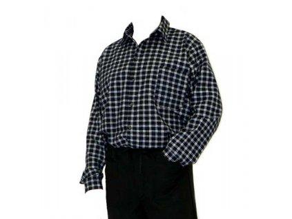 Pánská flanelová košile s dlouhým rukávem, černo/šedá - velikost 44