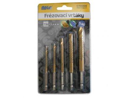 Frézovací vrtáky na dřevo a plast TiN sada - 5 ks (4,5,6,8,10mm) MAGG 070004