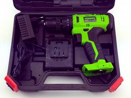 FREDDY - aku vrtačka s příklepem 20V 2,0Ah  + plastový kufr, 1x baterie, nabíječka a příslušenství