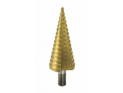 Stupňovitý vrták HSS/TiN 4-30mm do kovu a plastu