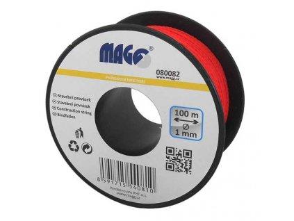 Stavební provázek 100m průměr 1mm červený na cívce MAGG 080082