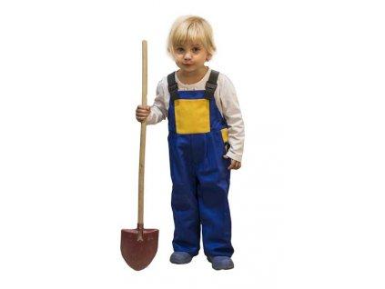 Dětské laclové pracovní kalhoty modrá/žlutá velikost 104