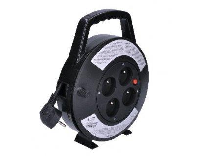 Prodlužovací přívod na bubnu, 4 zásuvky, černý, 10m Solight PB21B