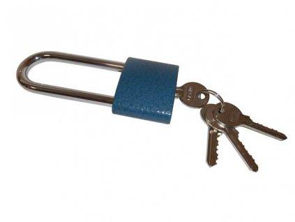 Visací zámek litina 52mm - modrý - prodloužený závěs