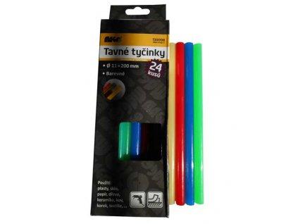 Tavné lepící tyčinky, průměr 11 mm, délka 200 mm; barevné - 24ks