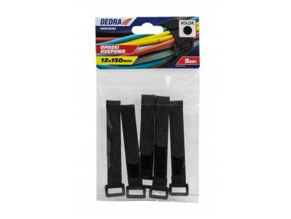 Pásky na suchý zip 16x210mm, černé 5 ks