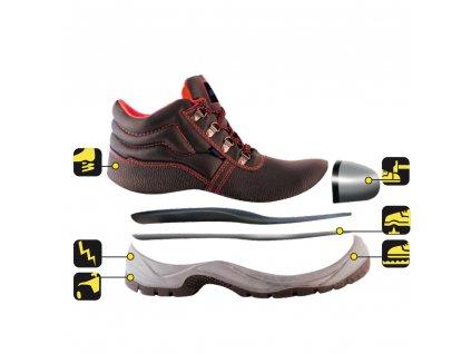 Bezpečnostní boty T1A, kožené, velikost: 44, kat. S1P SRC DEDRA BH9T1A-44