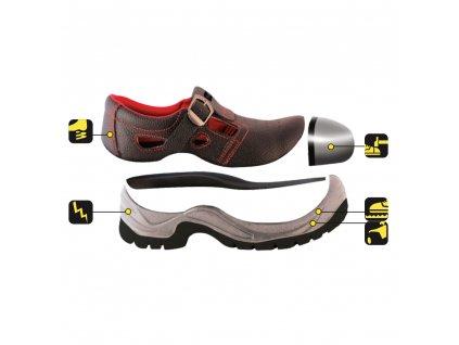 Bezpečnostní sandály D1, kožené, velikost: 43, kat.S1 SRC DEDRA BH9D1-43